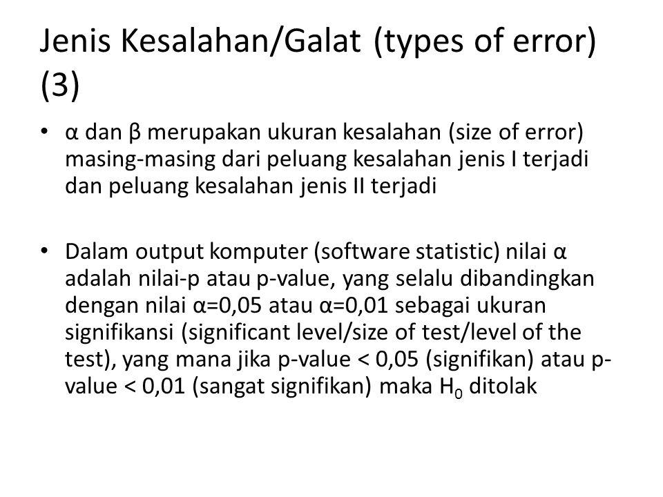 Jenis Kesalahan/Galat (types of error) (3) α dan β merupakan ukuran kesalahan (size of error) masing-masing dari peluang kesalahan jenis I terjadi dan