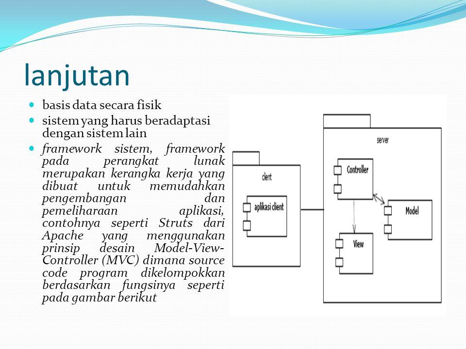 lanjutan basis data secara fisik sistem yang harus beradaptasi dengan sistem lain framework sistem, framework pada perangkat lunak merupakan kerangka kerja yang dibuat untuk memudahkan pengembangan dan pemeliharaan aplikasi, contohnya seperti Struts dari Apache yang menggunakan prinsip desain Model-View- Controller (MVC) dimana source code program dikelompokkan berdasarkan fungsinya seperti pada gambar berikut
