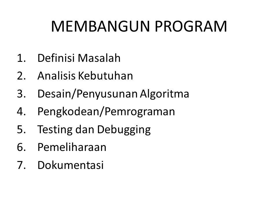 MEMBANGUN PROGRAM 1. Definisi Masalah 2. Analisis Kebutuhan 3. Desain/Penyusunan Algoritma 4. Pengkodean/Pemrograman 5. Testing dan Debugging 6. Pemel