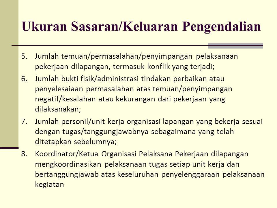 Ukuran Sasaran/Keluaran Pengendalian 5.Jumlah temuan/permasalahan/penyimpangan pelaksanaan pekerjaan dilapangan, termasuk konflik yang terjadi; 6.Juml