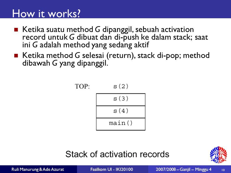 10 Ruli Manurung & Ade AzuratFasilkom UI - IKI20100 2007/2008 – Ganjil – Minggu 4 How it works.