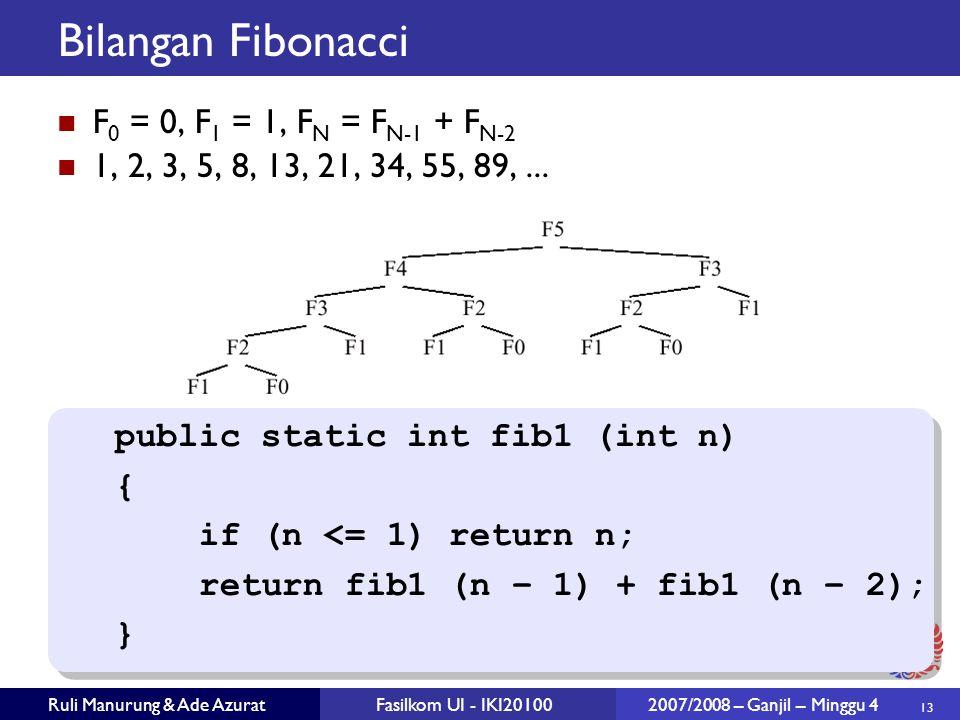 13 Ruli Manurung & Ade AzuratFasilkom UI - IKI20100 2007/2008 – Ganjil – Minggu 4 Bilangan Fibonacci F 0 = 0, F 1 = 1, F N = F N-1 + F N-2 1, 2, 3, 5, 8, 13, 21, 34, 55, 89,...