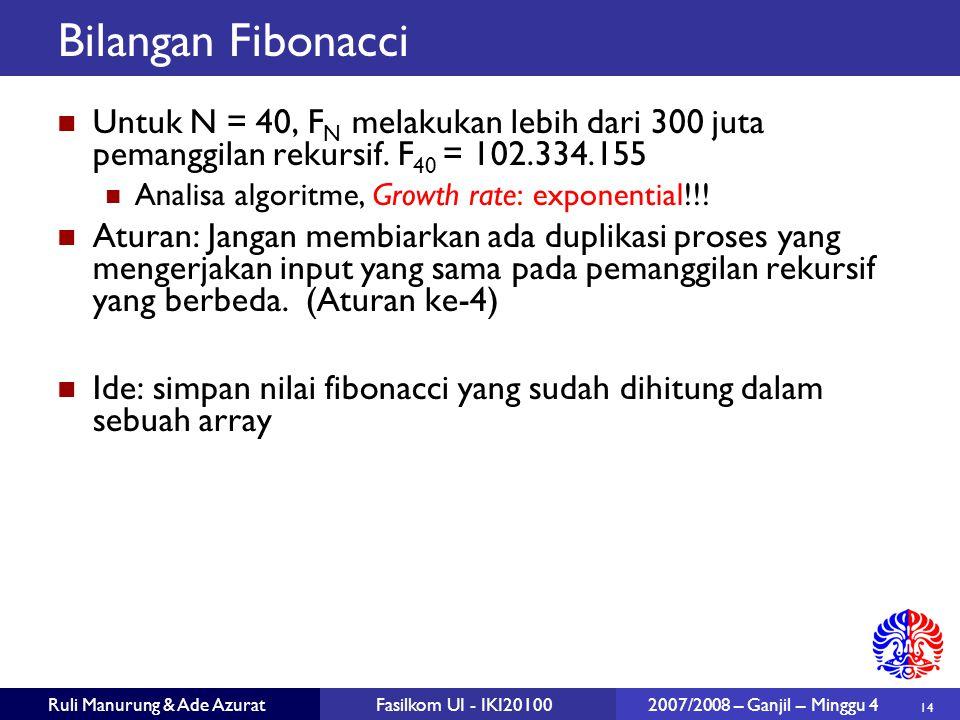 14 Ruli Manurung & Ade AzuratFasilkom UI - IKI20100 2007/2008 – Ganjil – Minggu 4 Bilangan Fibonacci Untuk N = 40, F N melakukan lebih dari 300 juta pemanggilan rekursif.