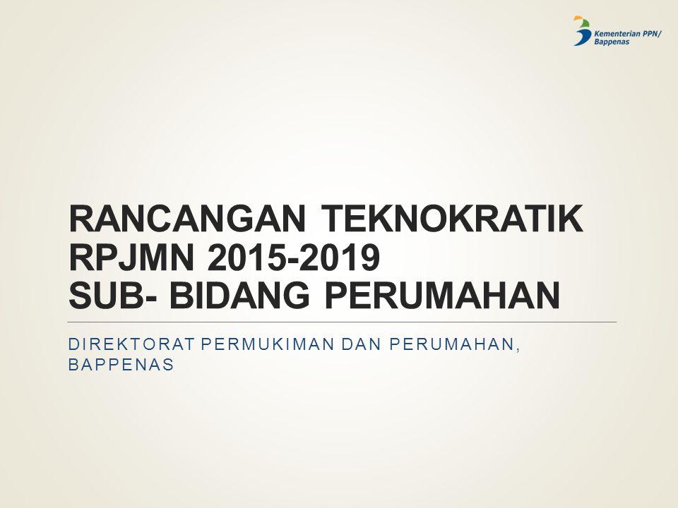 RANCANGAN TEKNOKRATIK RPJMN 2015-2019 SUB- BIDANG PERUMAHAN DIREKTORAT PERMUKIMAN DAN PERUMAHAN, BAPPENAS