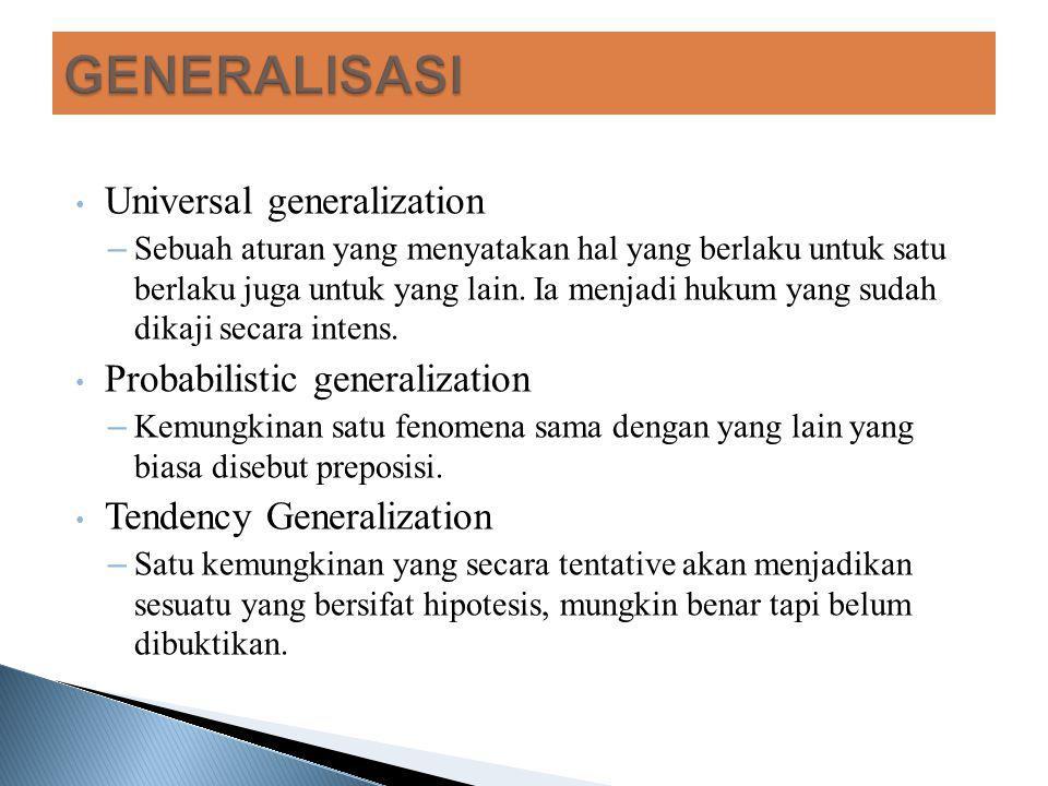 Universal generalization – Sebuah aturan yang menyatakan hal yang berlaku untuk satu berlaku juga untuk yang lain. Ia menjadi hukum yang sudah dikaji