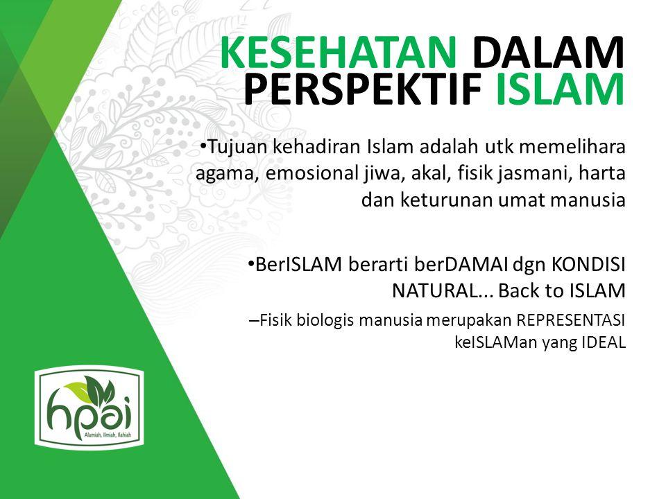 KESEHATAN DALAM PERSPEKTIF ISLAM Tujuan kehadiran Islam adalah utk memelihara agama, emosional jiwa, akal, fisik jasmani, harta dan keturunan umat man