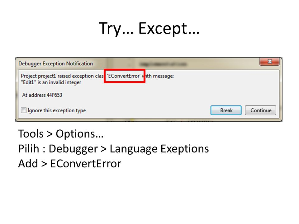 Try… Except… Tools > Options… Pilih : Debugger > Language Exeptions Add > EConvertError