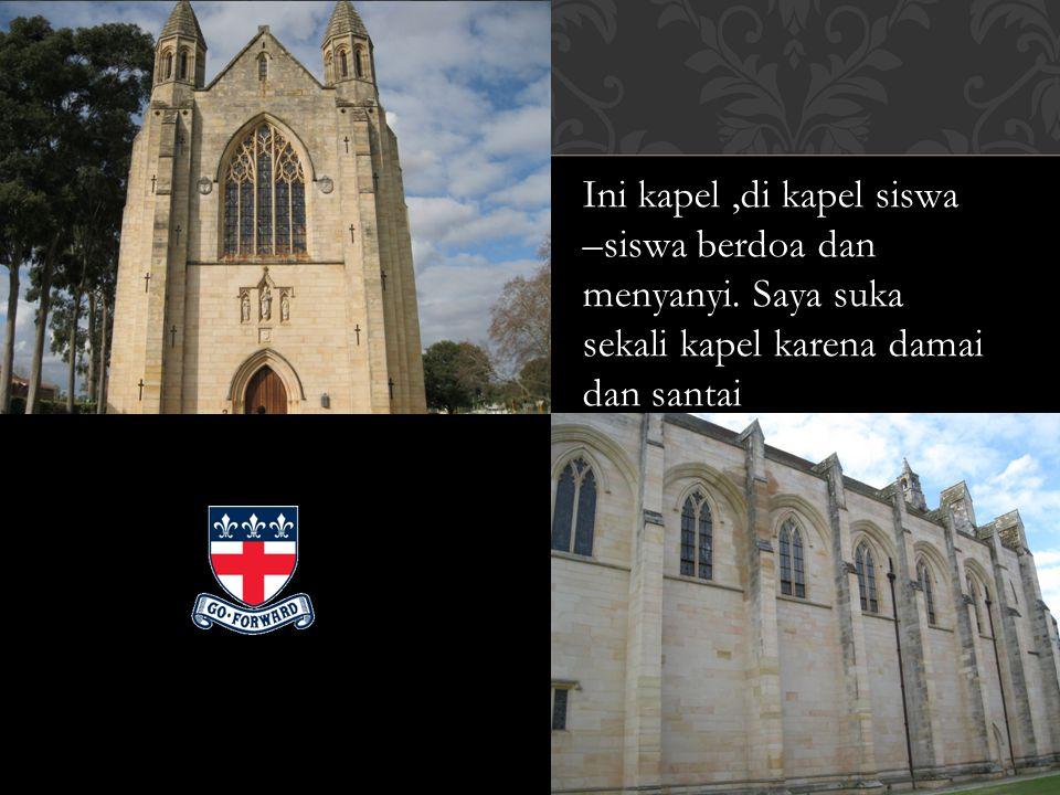 Ini kapel,di kapel siswa –siswa berdoa dan menyanyi. Saya suka sekali kapel karena damai dan santai