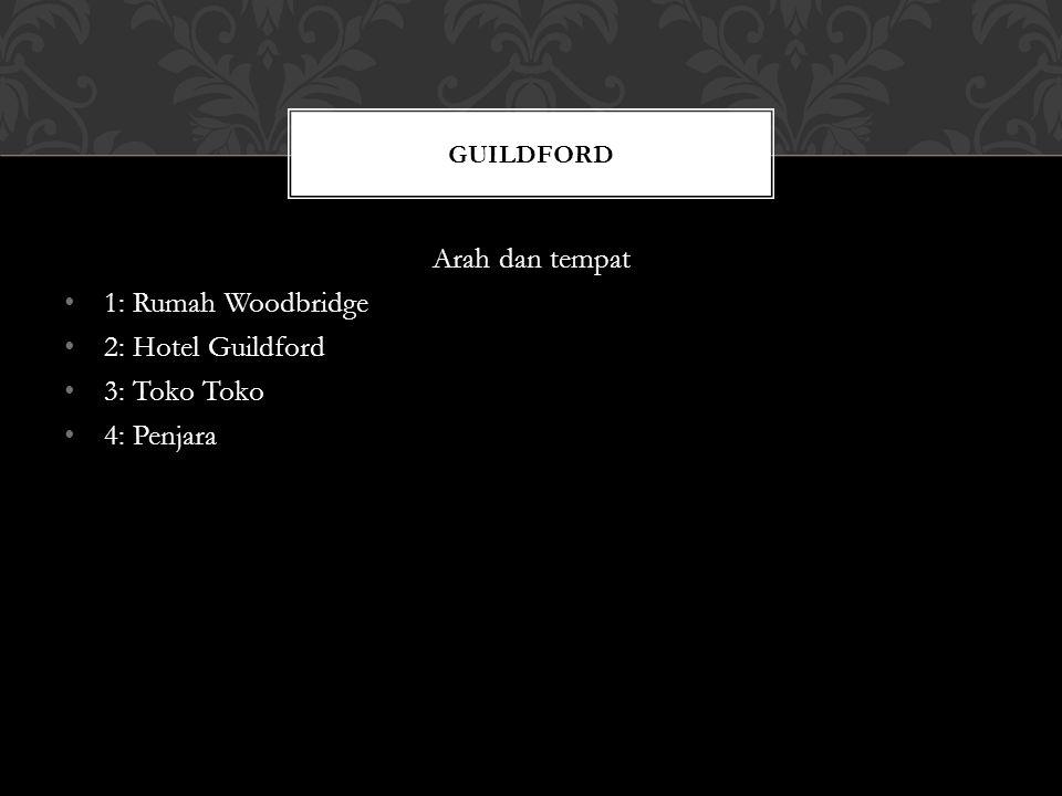 Arah dan tempat 1: Rumah Woodbridge 2: Hotel Guildford 3: Toko Toko 4: Penjara GUILDFORD