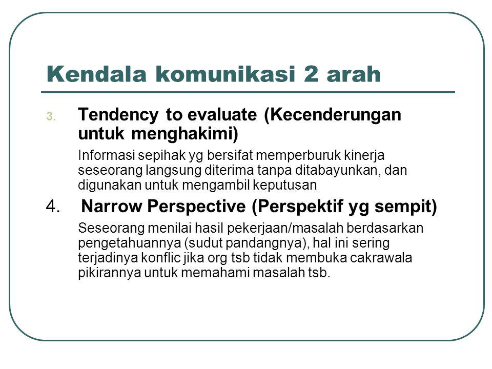 Kendala komunikasi 2 arah 3. Tendency to evaluate (Kecenderungan untuk menghakimi) Informasi sepihak yg bersifat memperburuk kinerja seseorang langsun
