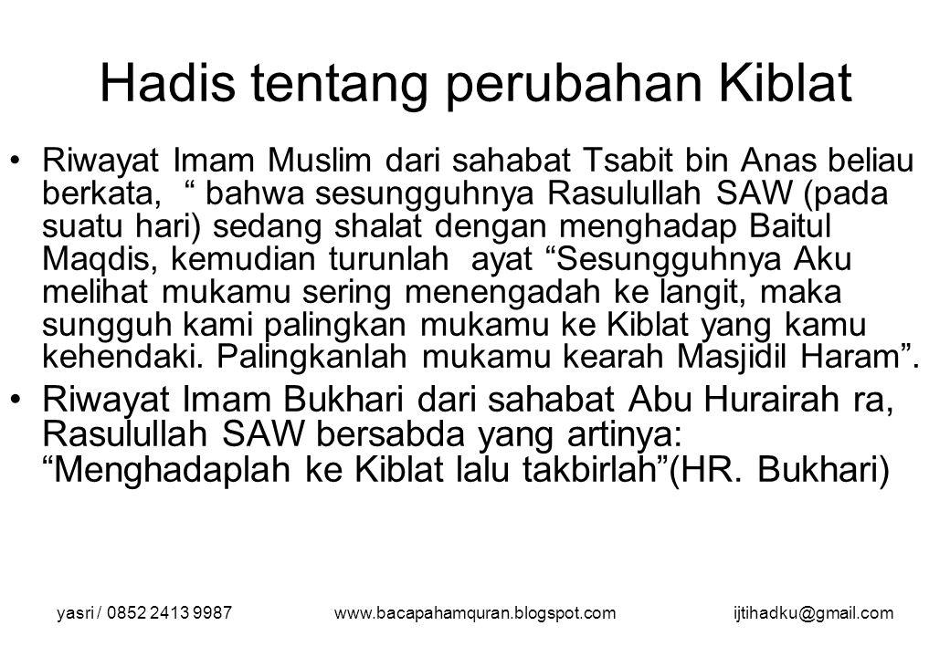 yasri / 0852 2413 9987www.bacapahamquran.blogspot.comijtihadku@gmail.com Hadis tentang perubahan Kiblat Riwayat Imam Muslim dari sahabat Tsabit bin An
