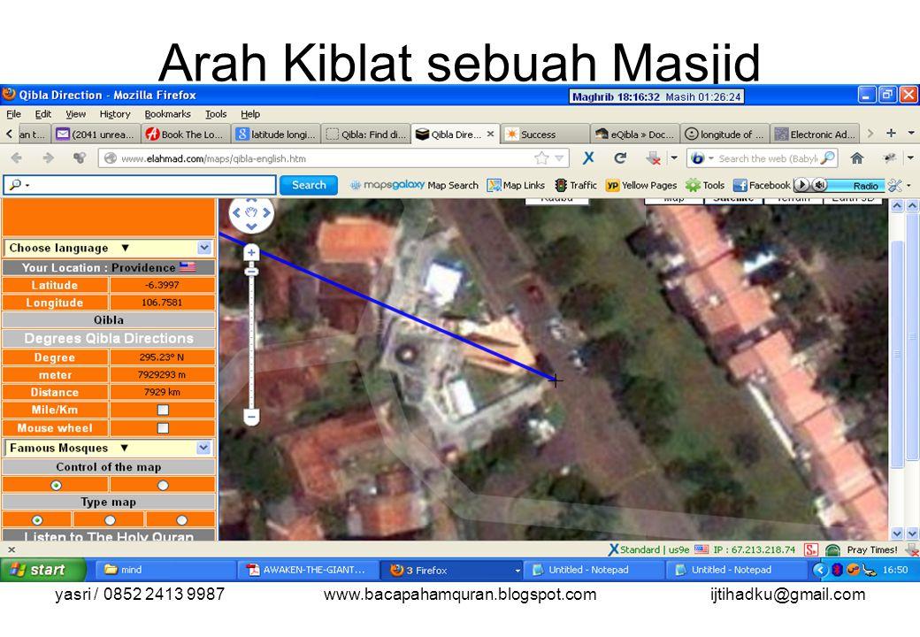 yasri / 0852 2413 9987www.bacapahamquran.blogspot.comijtihadku@gmail.com Arah Kiblat sebuah Masjid