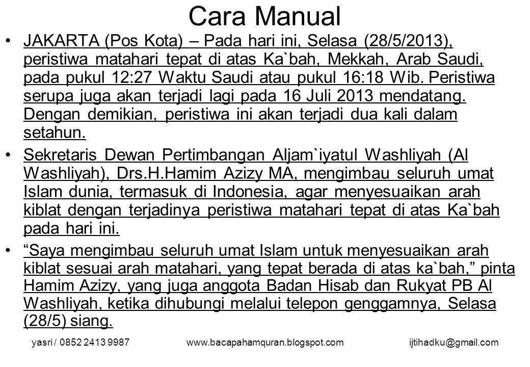 yasri / 0852 2413 9987www.bacapahamquran.blogspot.comijtihadku@gmail.com Cara Manual JAKARTA (Pos Kota) – Pada hari ini, Selasa (28/5/2013), peristiwa