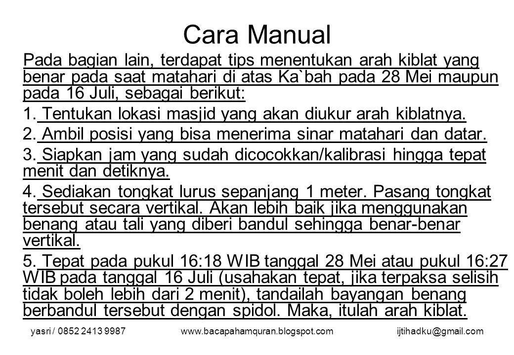 yasri / 0852 2413 9987www.bacapahamquran.blogspot.comijtihadku@gmail.com Cara Manual Pada bagian lain, terdapat tips menentukan arah kiblat yang benar