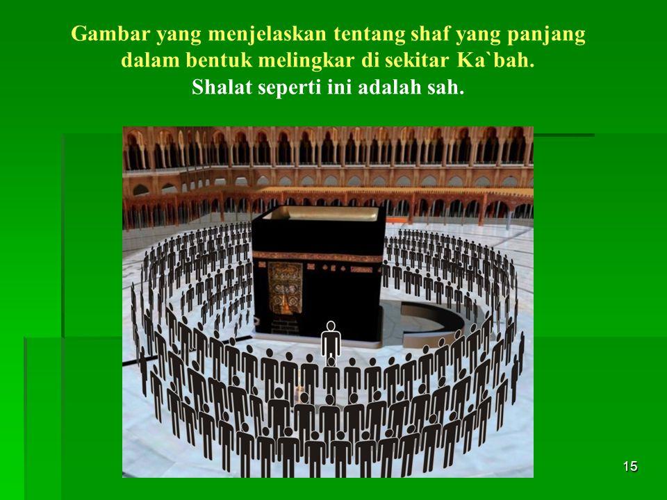 15 Gambar yang menjelaskan tentang shaf yang panjang dalam bentuk melingkar di sekitar Ka`bah. Shalat seperti ini adalah sah.