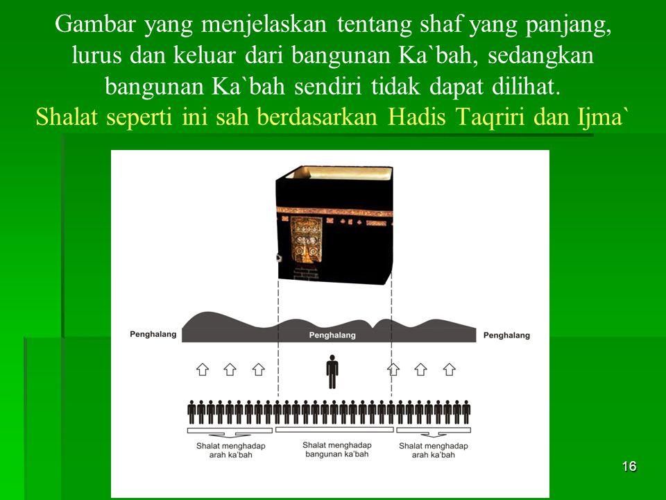 16 Gambar yang menjelaskan tentang shaf yang panjang, lurus dan keluar dari bangunan Ka`bah, sedangkan bangunan Ka`bah sendiri tidak dapat dilihat. Sh