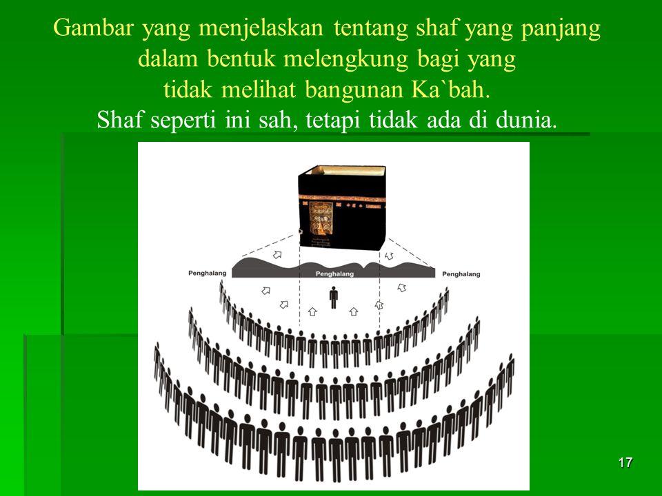 17 Gambar yang menjelaskan tentang shaf yang panjang dalam bentuk melengkung bagi yang tidak melihat bangunan Ka`bah. Shaf seperti ini sah, tetapi tid