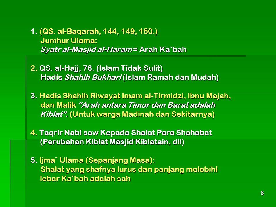 6 1. (QS. al-Baqarah, 144, 149, 150.) Jumhur Ulama: Syatr al-Masjid al-Haram = Arah Ka`bah 2. QS. al-Hajj, 78. (Islam Tidak Sulit) Hadis Shahih Bukhar