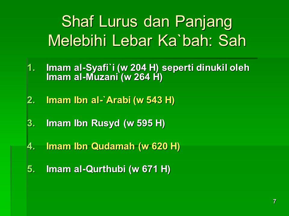 7 Shaf Lurus dan Panjang Melebihi Lebar Ka`bah: Sah 1.Imam al-Syafi`i (w 204 H) seperti dinukil oleh Imam al-Muzani (w 264 H) 2.Imam Ibn al-`Arabi (w