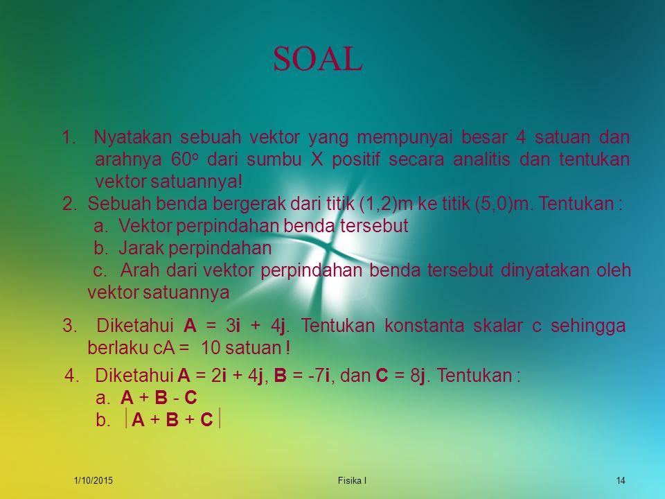 1/10/2015Fisika I13 CONTOH Diketahui dua buah vektor. A = 3i + 2j B = 2i  4j Tentukan : a. A + B dan  A + B  b. A  B dan  A  B  Jawab : a. A +