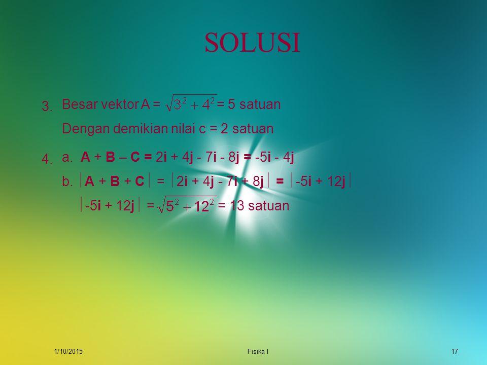 1/10/2015Fisika I16 SOLUSI X Y R 1 5 2 a.R = (x 2 – x 1 ) i + (y 2 – y 1 ) j. Titik awal (x 1,y 1 ) = (1,2) dan titik akhir (x 2,y 2 ) = (5,0). Dengan