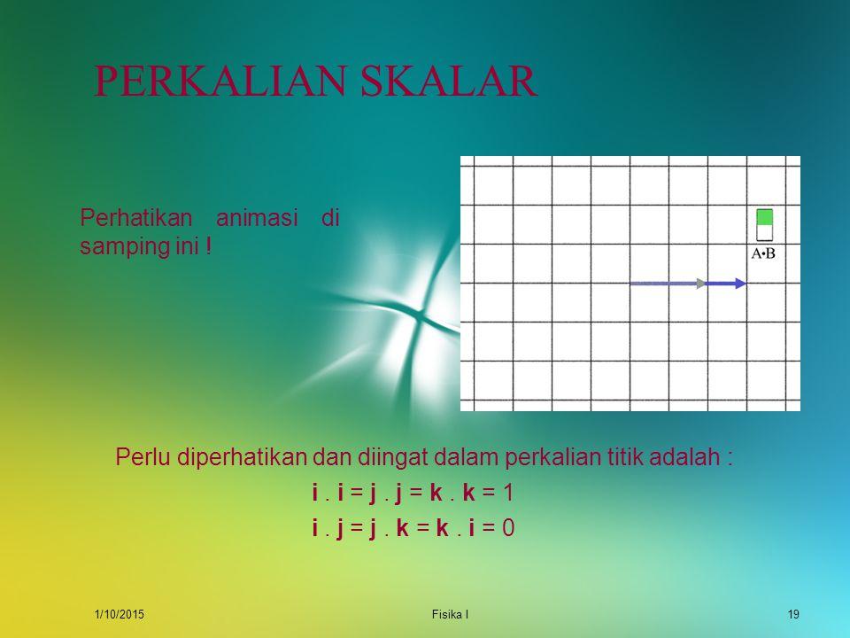 1/10/2015Fisika I18 PERKALIAN SKALAR Perkalian skalar atau juga sering disebut perkalian titik dari dua buah vektor menghasilkan besaran skalar di man