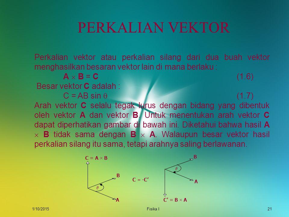 1/10/2015Fisika I20 CONTOH Diketahui dua buah vektor, A = 3i + 4j dan B = 4i  2j. Tentukan sudut antara vektor A dan B ! Jawab : A B  Untuk menentuk