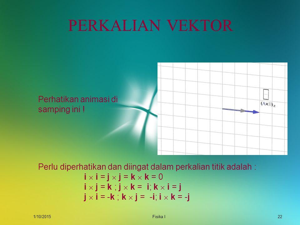 1/10/2015Fisika I21 PERKALIAN VEKTOR Perkalian vektor atau perkalian silang dari dua buah vektor menghasilkan besaran vektor lain di mana berlaku : A
