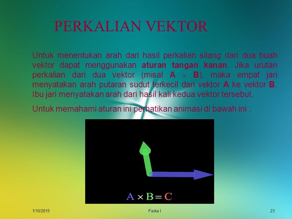 1/10/2015Fisika I22 PERKALIAN VEKTOR Perlu diperhatikan dan diingat dalam perkalian titik adalah : i  i = j  j = k  k = 0 i  j = k ; j  k = i; k
