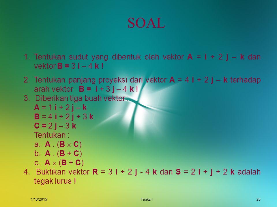 1/10/2015Fisika I24 CONTOH Diketahui dua buah vektor. A = 3i + 4j B = 4i  2j + k Tentukan : a. A  B b. Buktikan A  B = -B  A Jawab : A  B = (3i +