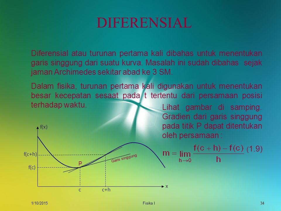 1/10/2015Fisika I33 Muatan dalam kapasitor yang terhubung dengan sumber tegangan DC bergantung pada waktu yang dinyatakan oleh fungsi : Q(t) = q(1 – e