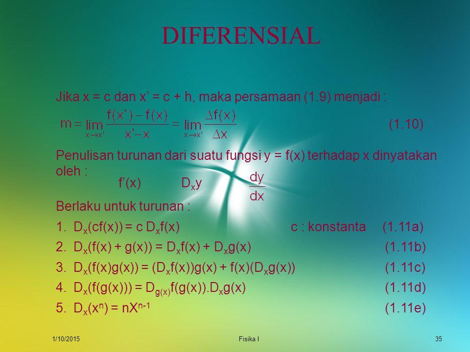 1/10/2015Fisika I34 DIFERENSIAL Diferensial atau turunan pertama kali dibahas untuk menentukan garis singgung dari suatu kurva. Masalah ini sudah diba