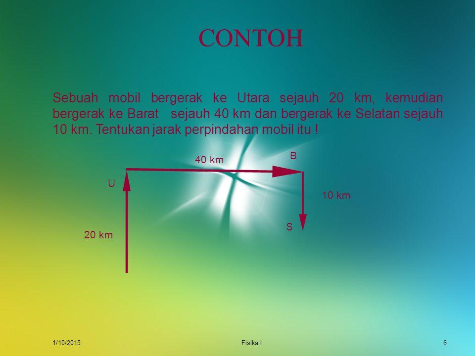 1/10/2015Fisika I5 PENGURANGAN VEKTOR Untuk pengurangan vektor, misal A – B dapat dinyatakan sebagai penjumlahan dari A + (-B). Vektor -B atau negatif