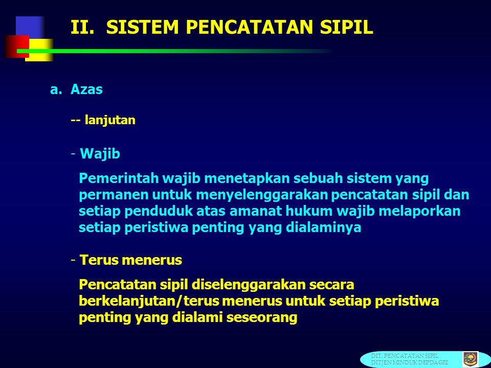 II. SISTEM PENCATATAN SIPIL 3. Kaidah Universal Civil Registration Kaidah universal civil registration yang direkomendasikan oleh Perserikatan Bangsa-