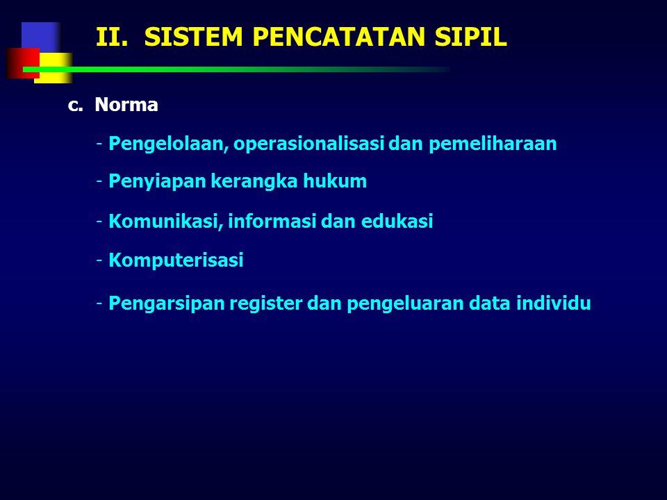 II. SISTEM PENCATATAN SIPIL - Hukum Pencatatan sipil menghasilkan dokumen hukum bagi seseorang, utamanya bagi status keperdataan seseorang - Statistik