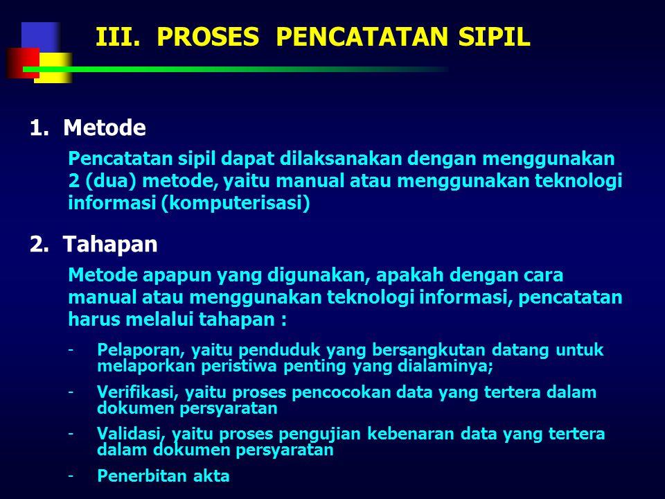 II. SISTEM PENCATATAN SIPIL 5. Prinsip pencatatan i.Pencatatan perubahan jenis kelamin, didasarkan atas penetapan Pengadilan j.Pencatatan perubahan ke