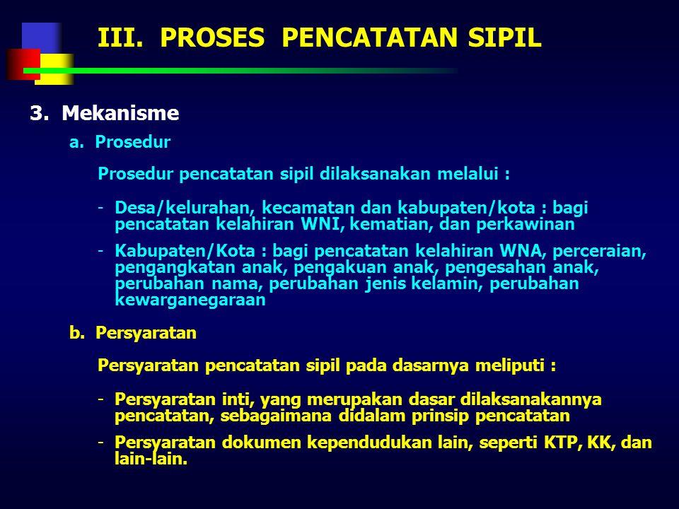 III. PROSES PENCATATAN SIPIL 1. Metode Pencatatan sipil dapat dilaksanakan dengan menggunakan 2 (dua) metode, yaitu manual atau menggunakan teknologi