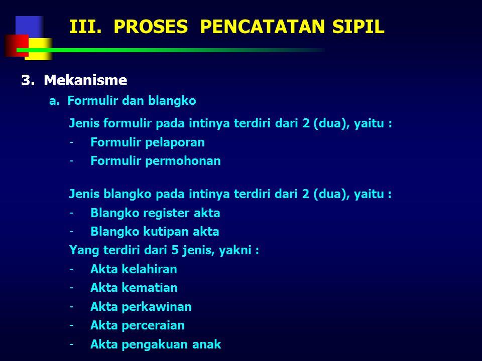 III. PROSES PENCATATAN SIPIL 3. Mekanisme a. Prosedur Prosedur pencatatan sipil dilaksanakan melalui : -Desa/kelurahan, kecamatan dan kabupaten/kota :