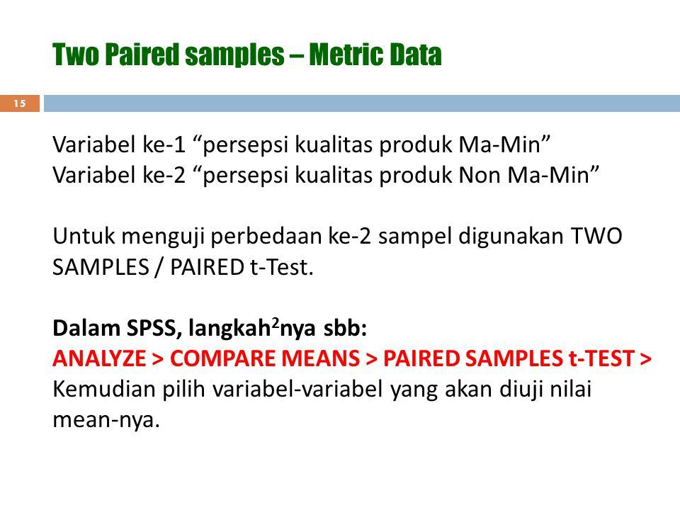 """15 Two Paired samples – Metric Data Variabel ke-1 """"persepsi kualitas produk Ma-Min"""" Variabel ke-2 """"persepsi kualitas produk Non Ma-Min"""" Untuk menguji"""