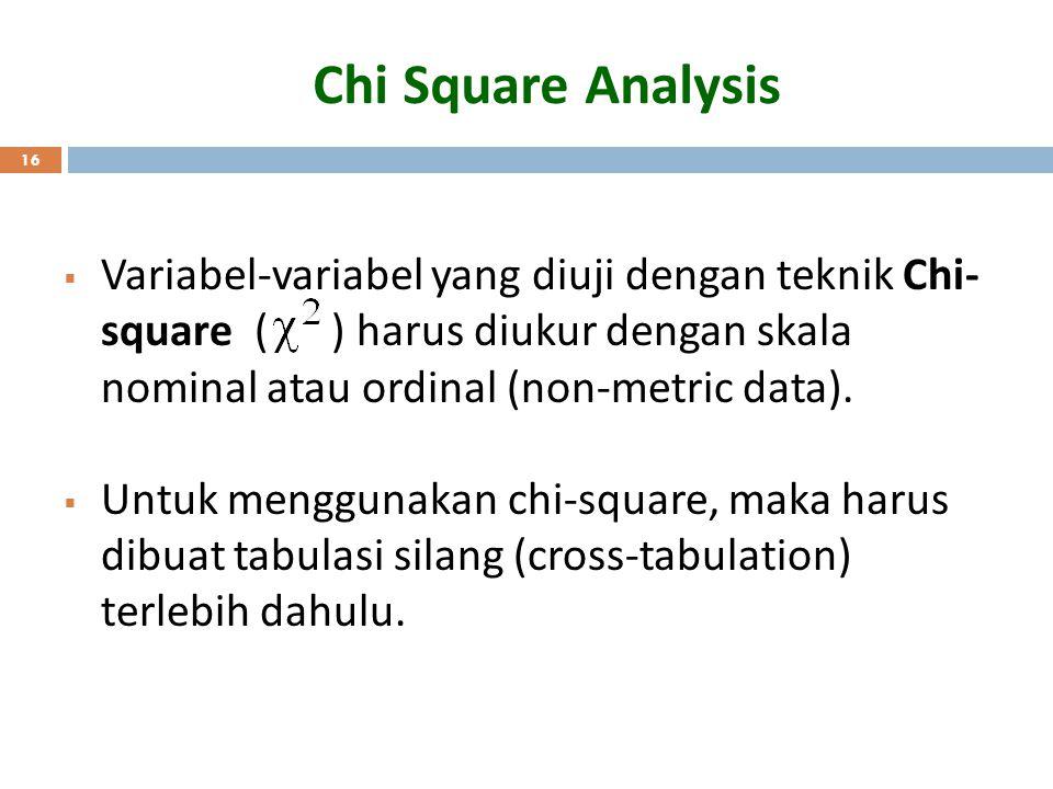Chi Square Analysis 16  Variabel-variabel yang diuji dengan teknik Chi- square ( ) harus diukur dengan skala nominal atau ordinal (non-metric data).