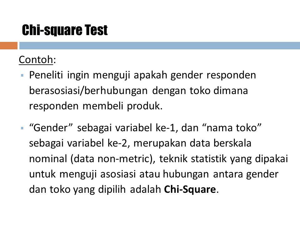 """17 Chi-square Test Contoh:  Peneliti ingin menguji apakah gender responden berasosiasi/berhubungan dengan toko dimana responden membeli produk.  """"Ge"""