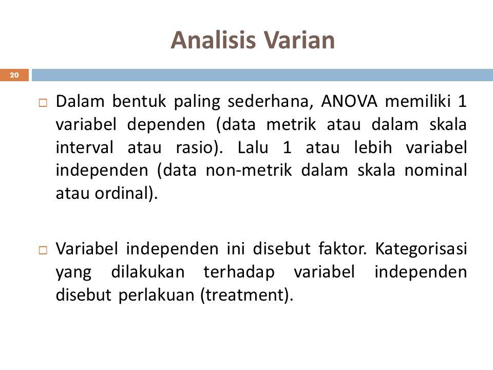 Analisis Varian 20  Dalam bentuk paling sederhana, ANOVA memiliki 1 variabel dependen (data metrik atau dalam skala interval atau rasio). Lalu 1 atau