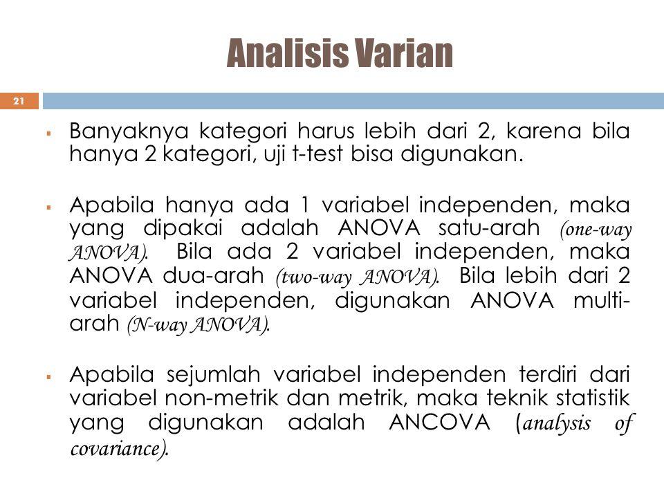 Analisis Varian 21  Banyaknya kategori harus lebih dari 2, karena bila hanya 2 kategori, uji t-test bisa digunakan.  Apabila hanya ada 1 variabel in