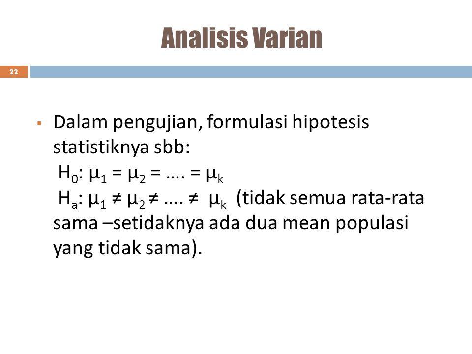 Analisis Varian 22  Dalam pengujian, formulasi hipotesis statistiknya sbb: H 0 : µ 1 = µ 2 = …. = µ k H a : µ 1 ≠ µ 2 ≠ …. ≠ µ k (tidak semua rata-ra
