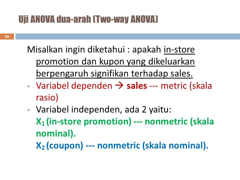 Uji ANOVA dua-arah (Two-way ANOVA) 26 Misalkan ingin diketahui : apakah in-store promotion dan kupon yang dikeluarkan berpengaruh signifikan terhadap
