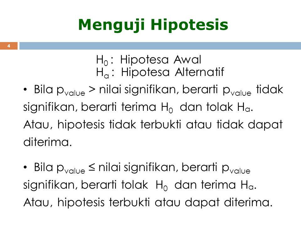 4 Menguji Hipotesis Bila p value > nilai signifikan, berarti p value tidak signifikan, berarti terima H 0 dan tolak H a. Atau, hipotesis tidak terbukt
