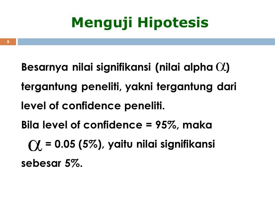 5 Menguji Hipotesis Besarnya nilai signifikansi (nilai alpha ) tergantung peneliti, yakni tergantung dari level of confidence peneliti. Bila level of