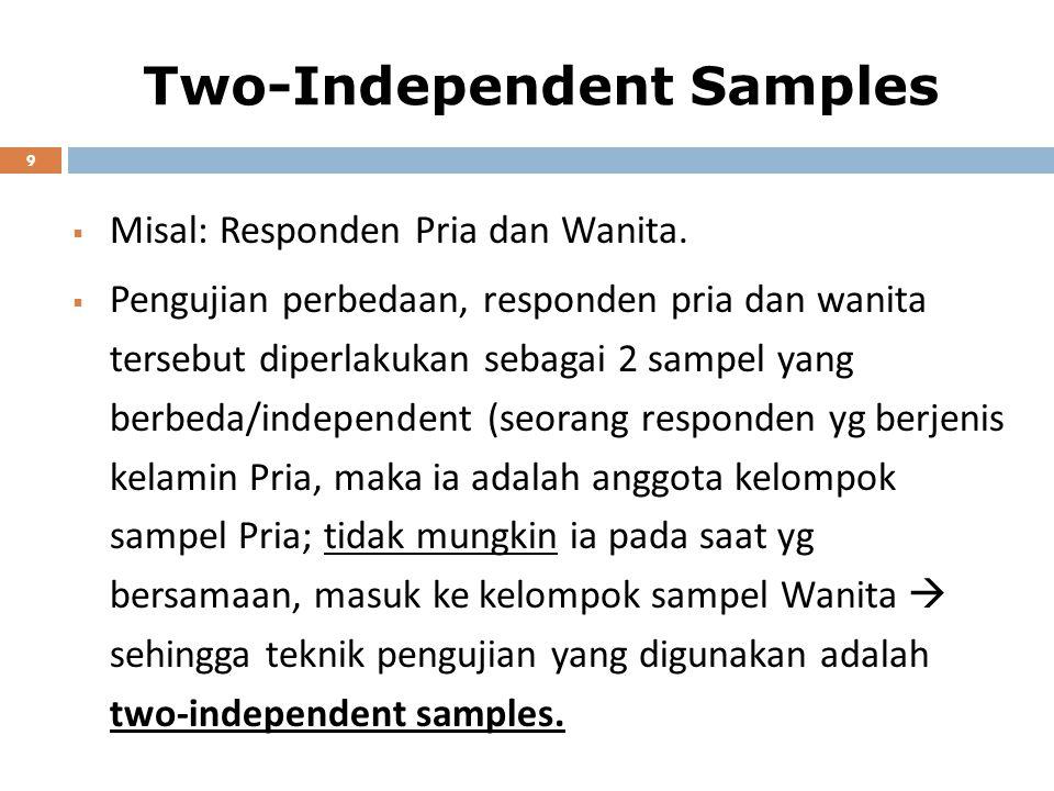 Two-Independent Samples 9  Misal: Responden Pria dan Wanita.  Pengujian perbedaan, responden pria dan wanita tersebut diperlakukan sebagai 2 sampel