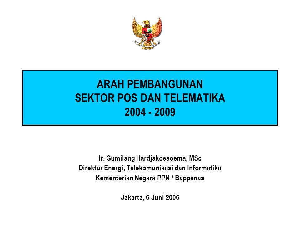 ARAH PEMBANGUNAN SEKTOR POS DAN TELEMATIKA 2004 - 2009 Ir. Gumilang Hardjakoesoema, MSc Direktur Energi, Telekomunikasi dan Informatika Kementerian Ne
