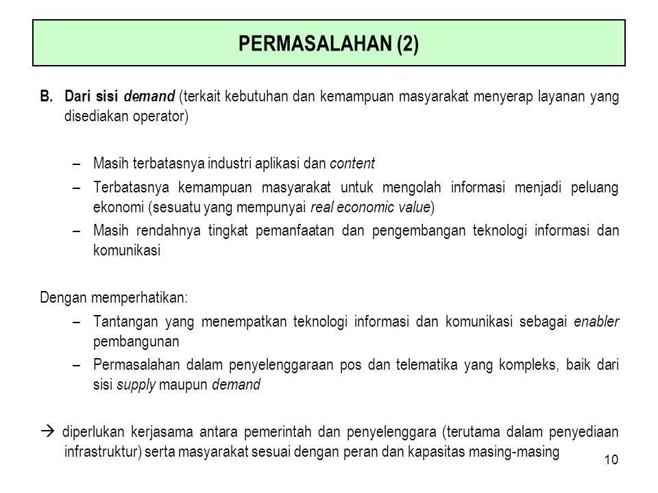 10 PERMASALAHAN (2) B.Dari sisi demand (terkait kebutuhan dan kemampuan masyarakat menyerap layanan yang disediakan operator) –Masih terbatasnya indus